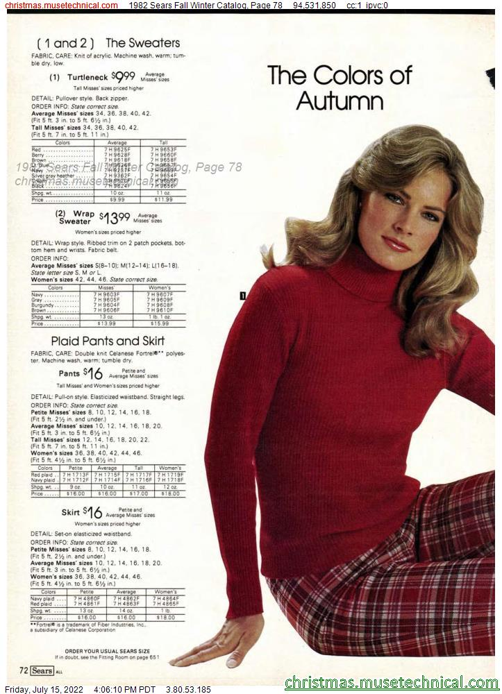 1982 Sears Fall Winter Catalog, Page 78