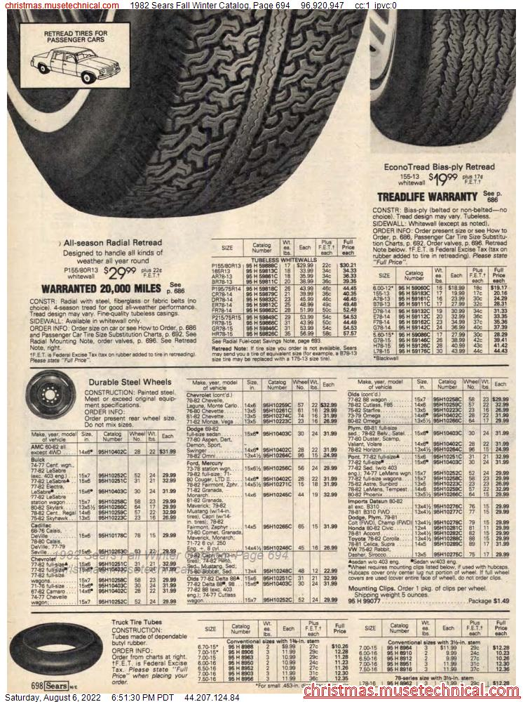 1982 Sears Fall Winter Catalog, Page 694
