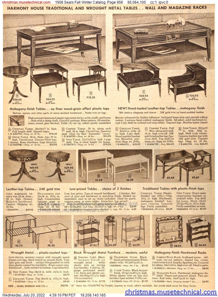 1956 Sears Fall Winter Catalog, Page 956