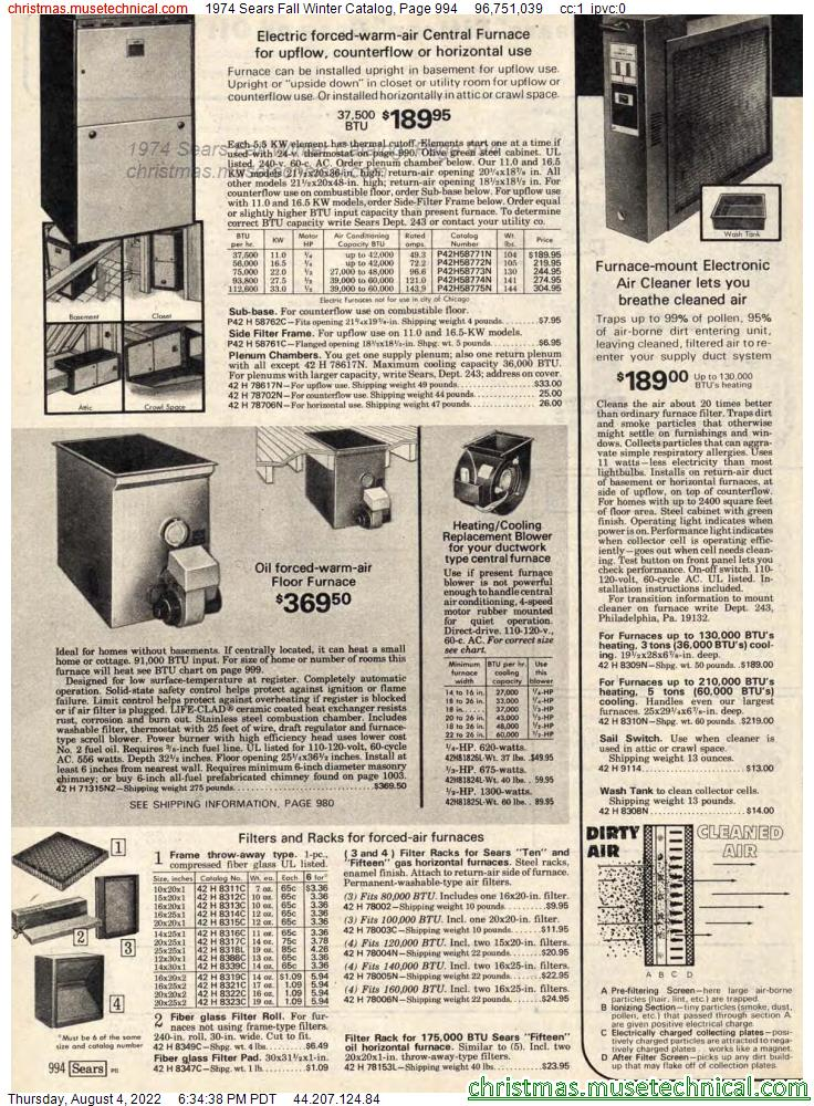1974 Sears Fall Winter Catalog, Page 994