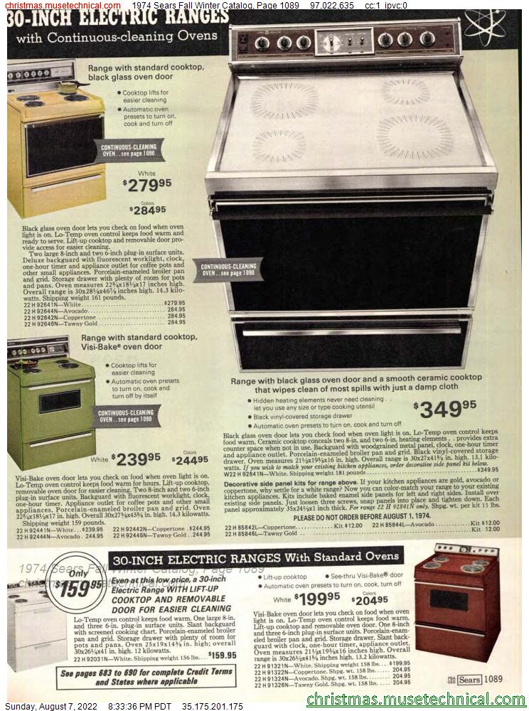 1974 Sears Fall Winter Catalog, Page 1089