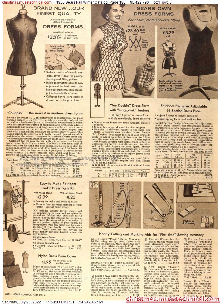 1956 Sears Fall Winter Catalog, Page 186