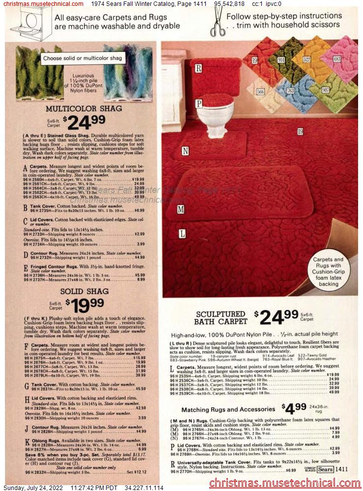 1974 Sears Fall Winter Catalog, Page 1411