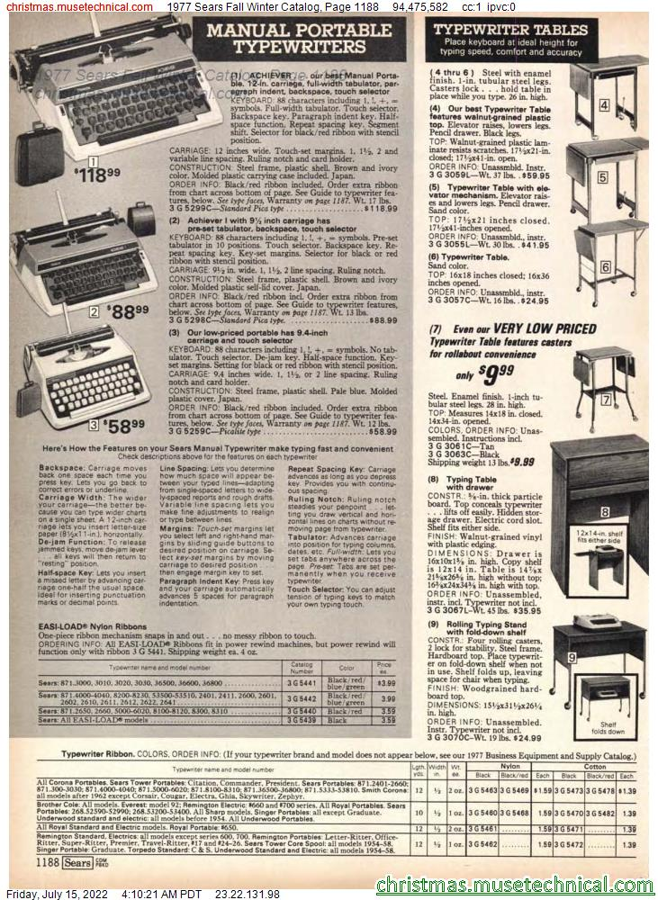 1977 Sears Fall Winter Catalog, Page 1188