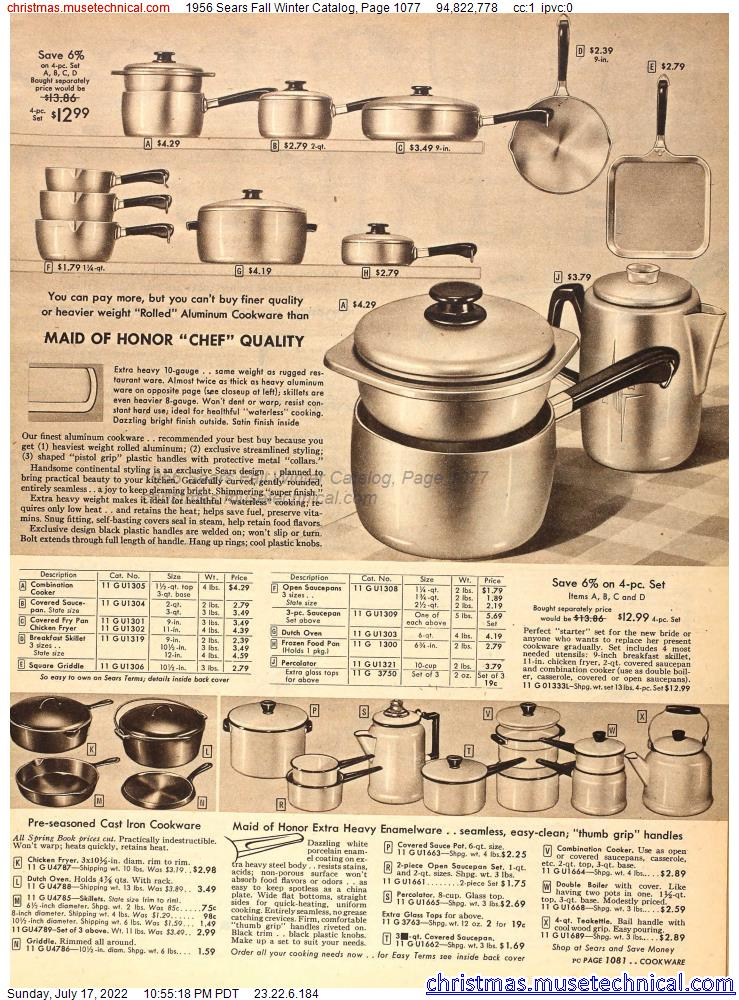 1956 Sears Fall Winter Catalog, Page 1077