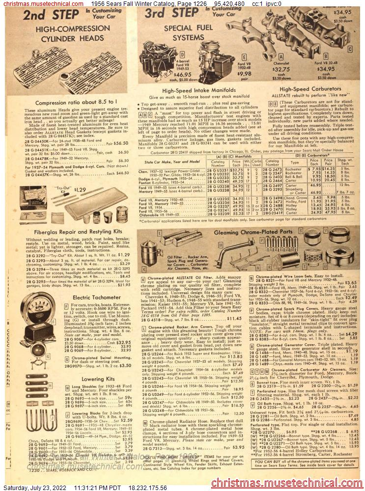 1956 Sears Fall Winter Catalog, Page 1226