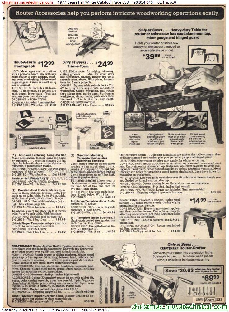 1977 Sears Fall Winter Catalog, Page 833