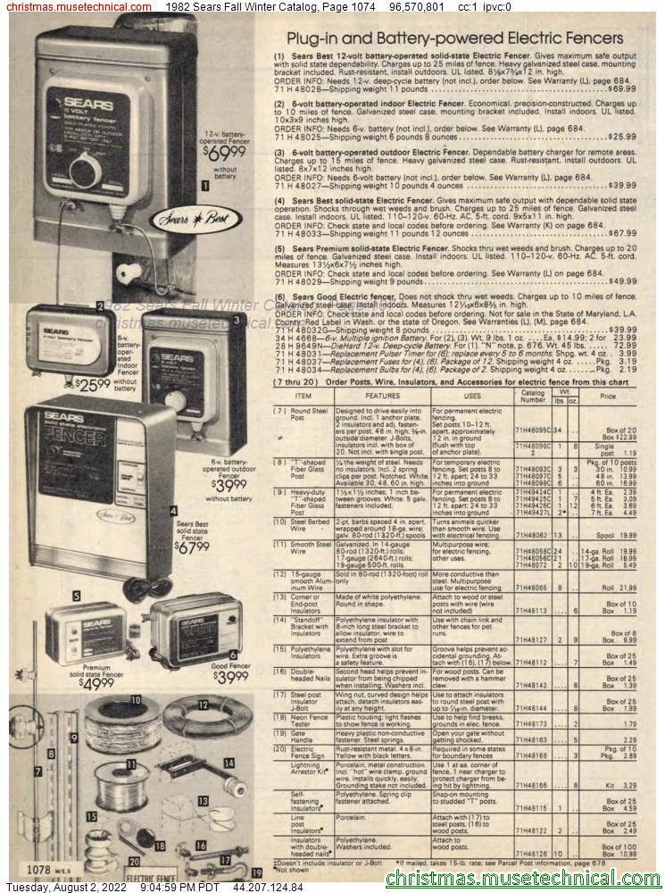 1982 Sears Fall Winter Catalog, Page 1074