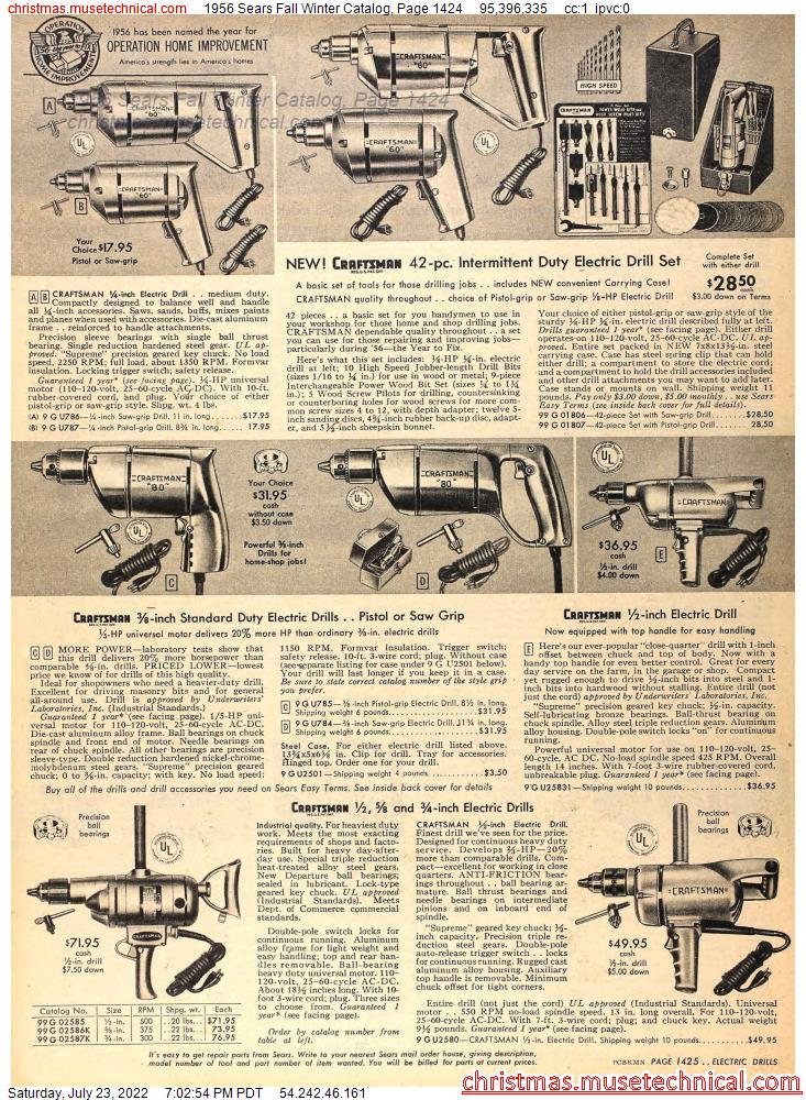 1956 Sears Fall Winter Catalog, Page 1424