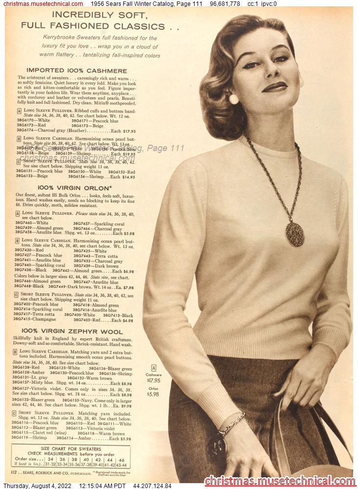 1956 Sears Fall Winter Catalog, Page 111