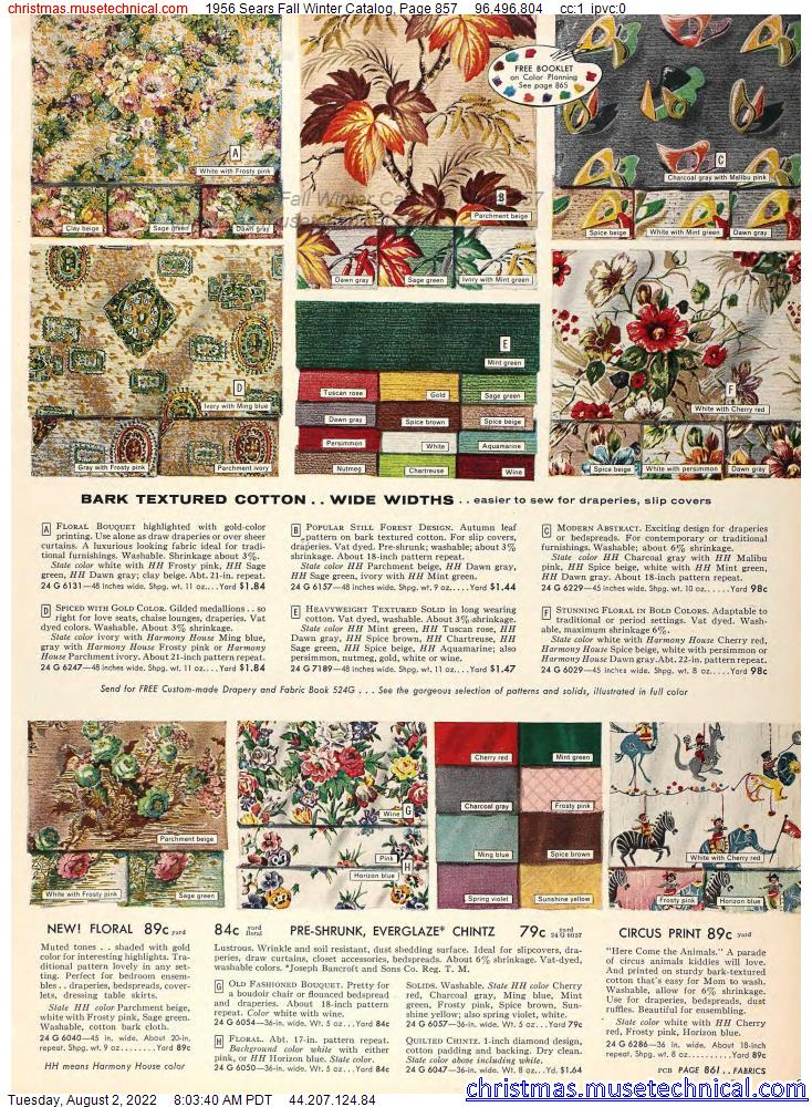 1956 Sears Fall Winter Catalog, Page 857
