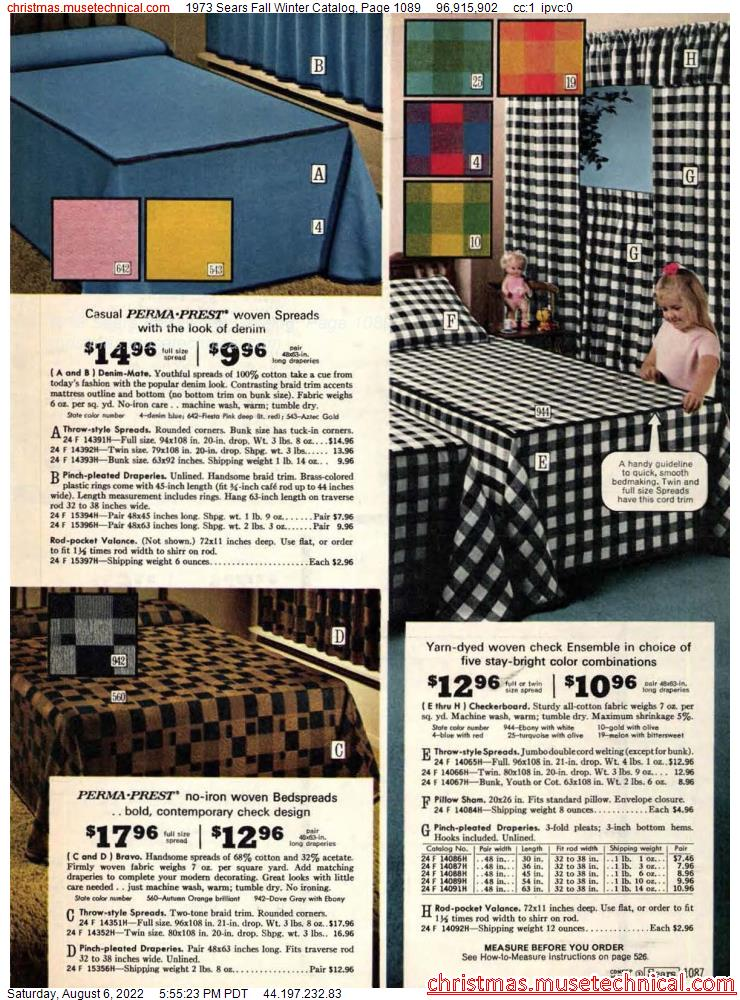 1973 Sears Fall Winter Catalog, Page 1089