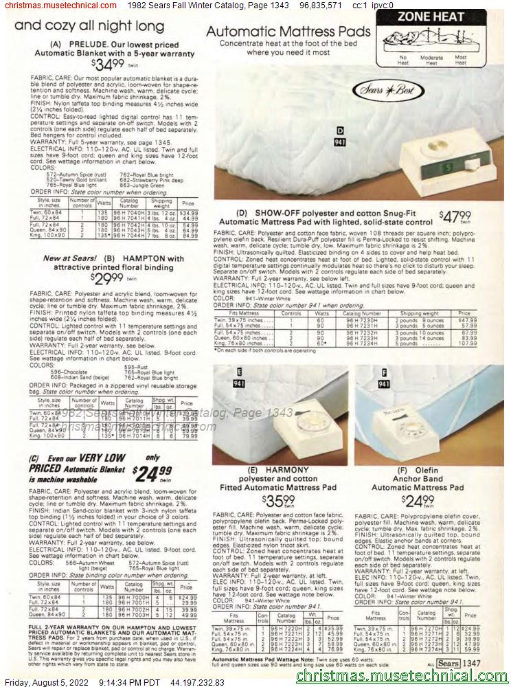 1982 Sears Fall Winter Catalog, Page 1343