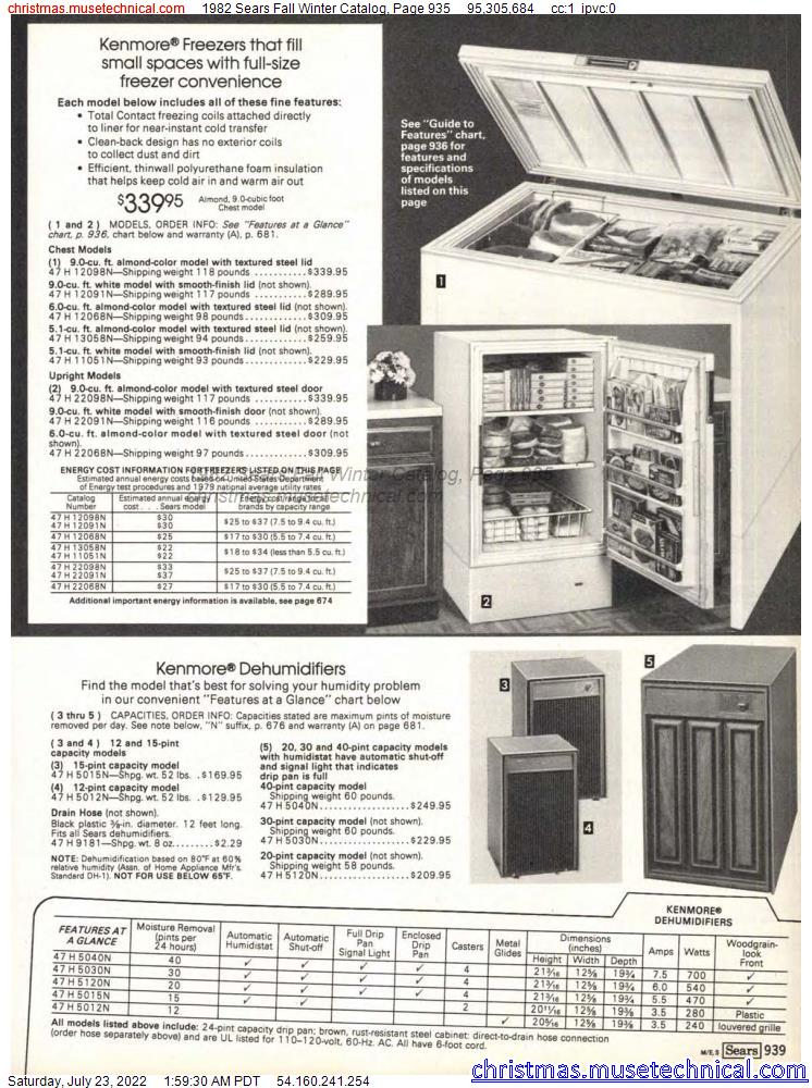 1982 Sears Fall Winter Catalog, Page 935