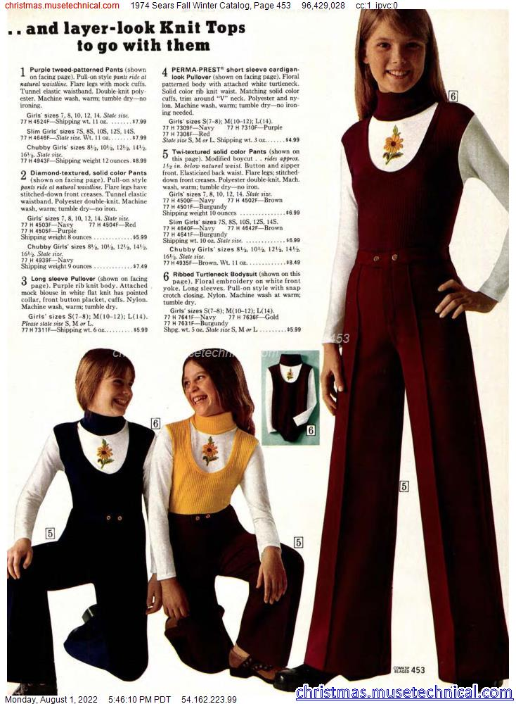 1974 Sears Fall Winter Catalog, Page 453
