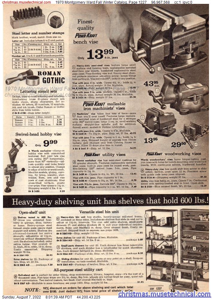 1970 Montgomery Ward Fall Winter Catalog, Page 1227