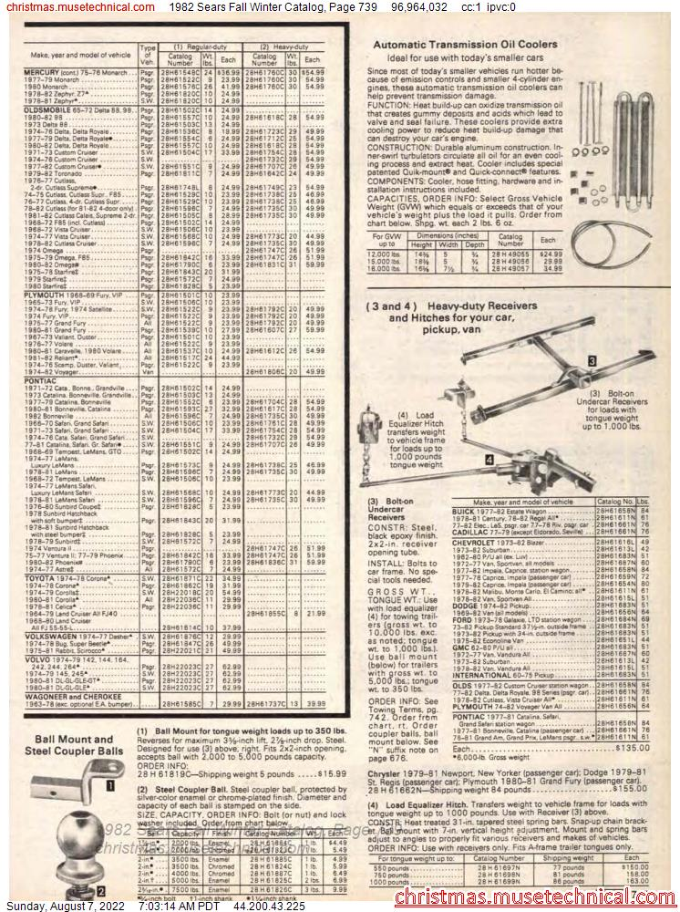 1982 Sears Fall Winter Catalog, Page 739