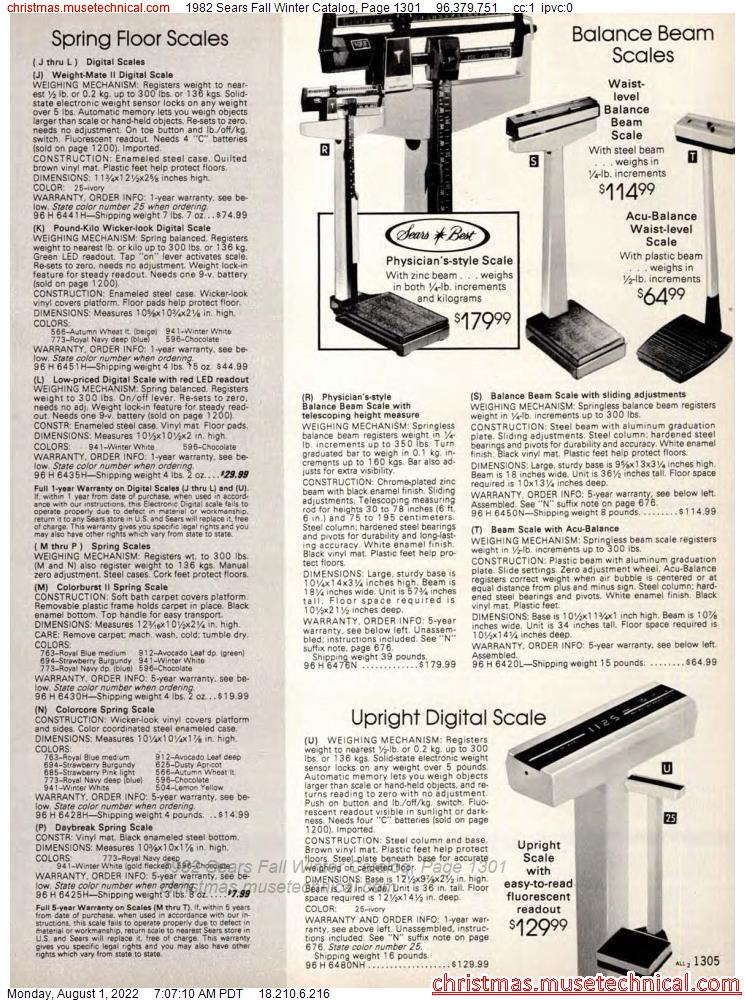 1982 Sears Fall Winter Catalog, Page 1301