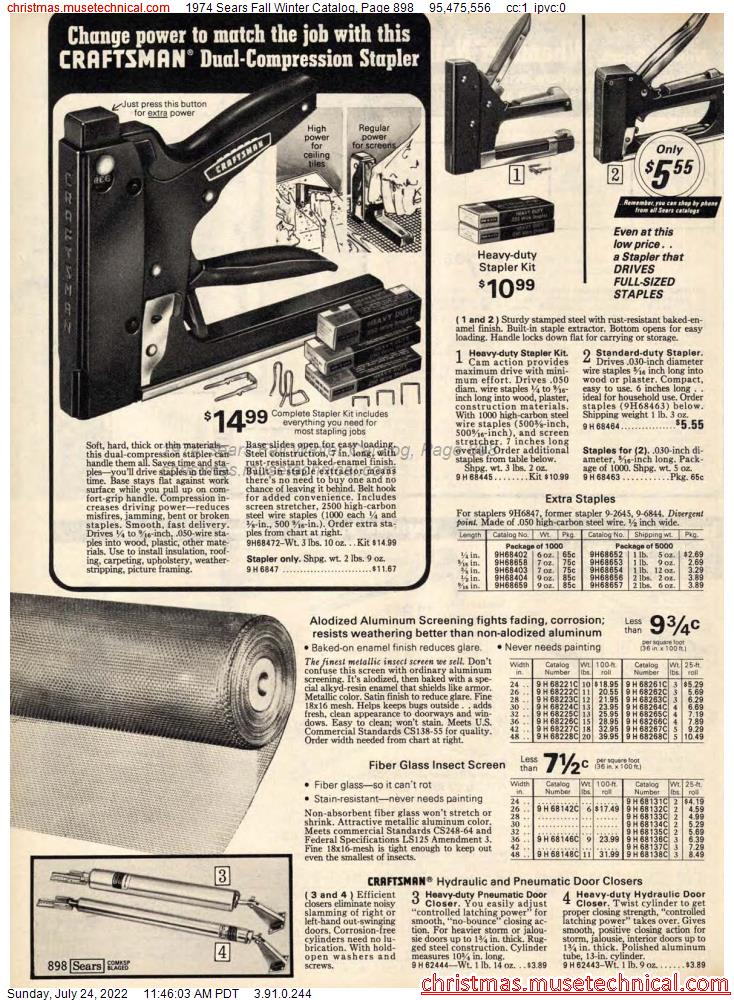 1974 Sears Fall Winter Catalog, Page 898
