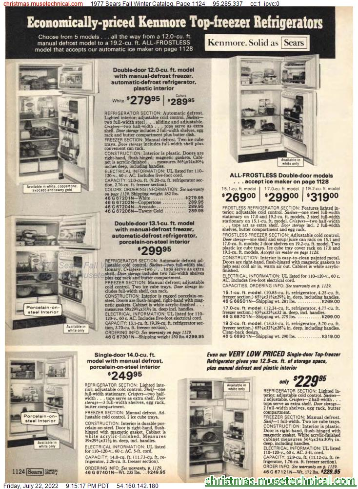 1977 Sears Fall Winter Catalog, Page 1124