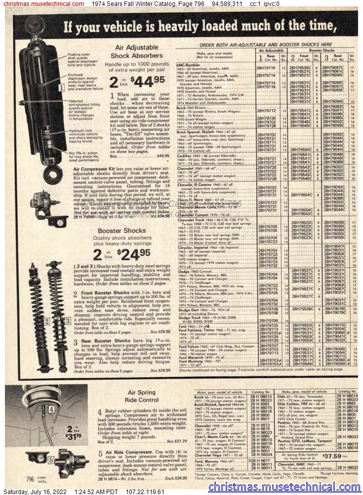 1974 Sears Fall Winter Catalog, Page 796