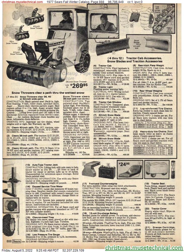 1977 Sears Fall Winter Catalog, Page 888