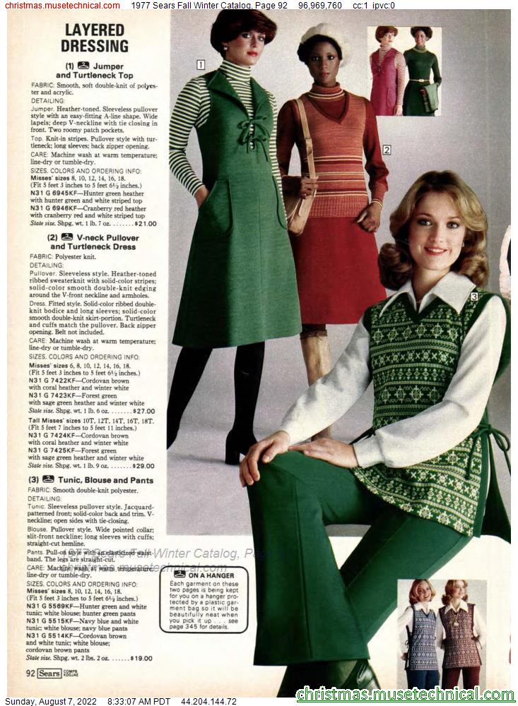 1977 Sears Fall Winter Catalog, Page 92