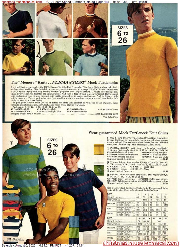 1970 Sears Spring Summer Catalog, Page 184