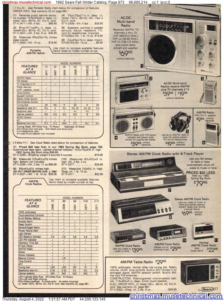 1982 Sears Fall Winter Catalog, Page 873