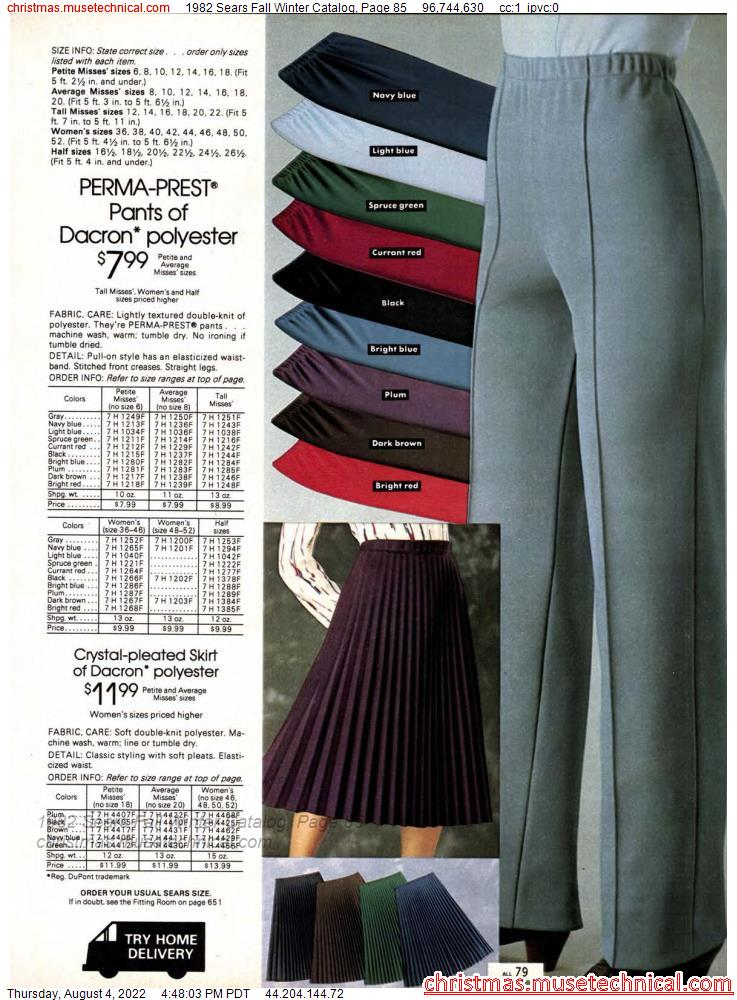 1982 Sears Fall Winter Catalog, Page 85
