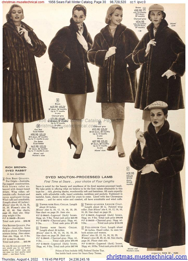 1956 Sears Fall Winter Catalog, Page 30