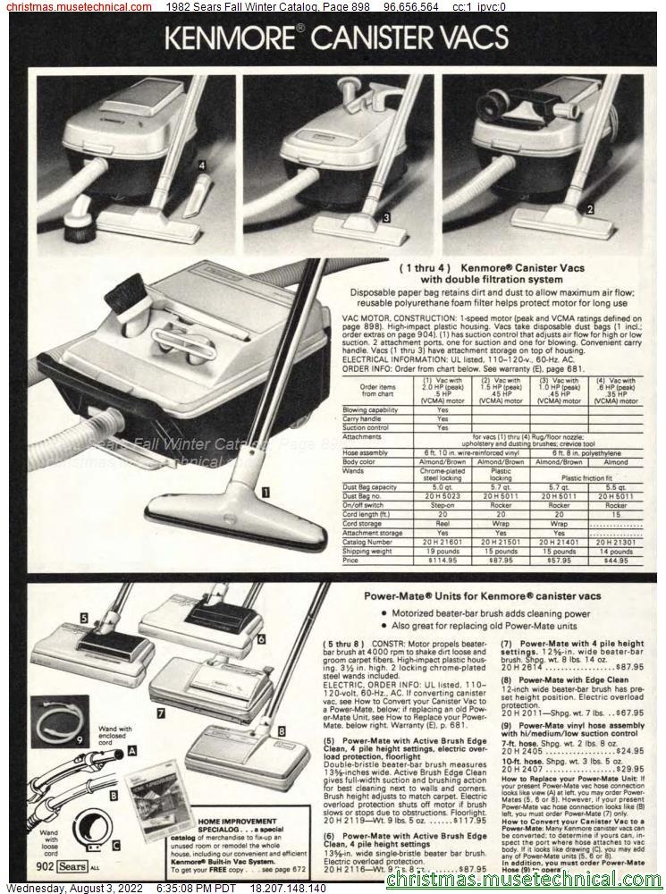 1982 Sears Fall Winter Catalog, Page 898