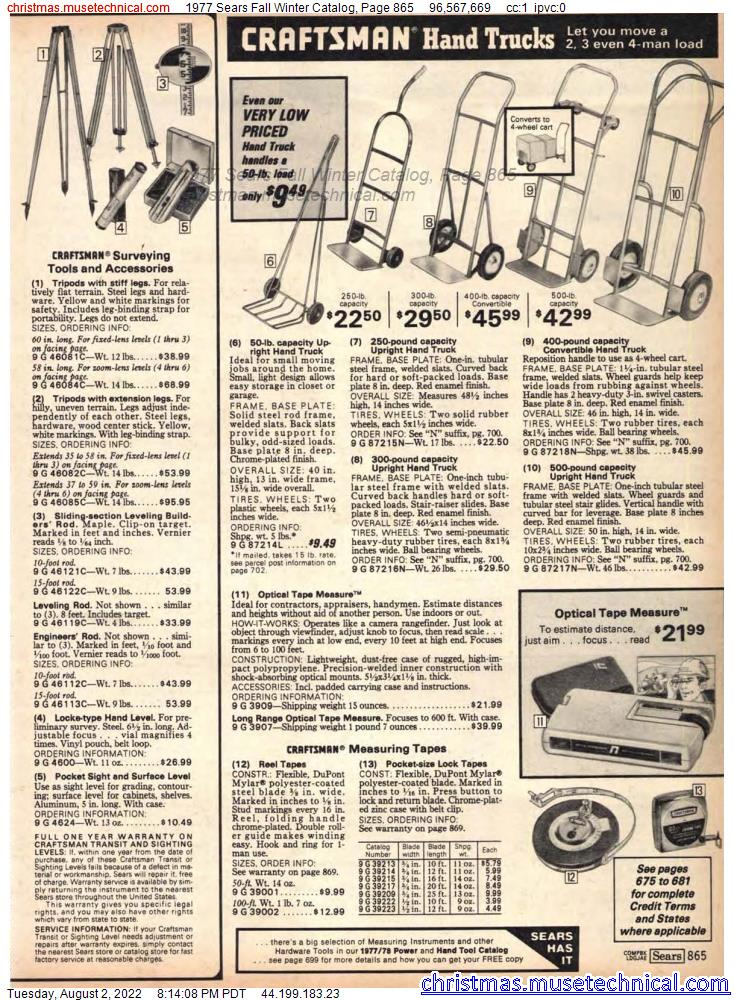 1977 Sears Fall Winter Catalog, Page 865