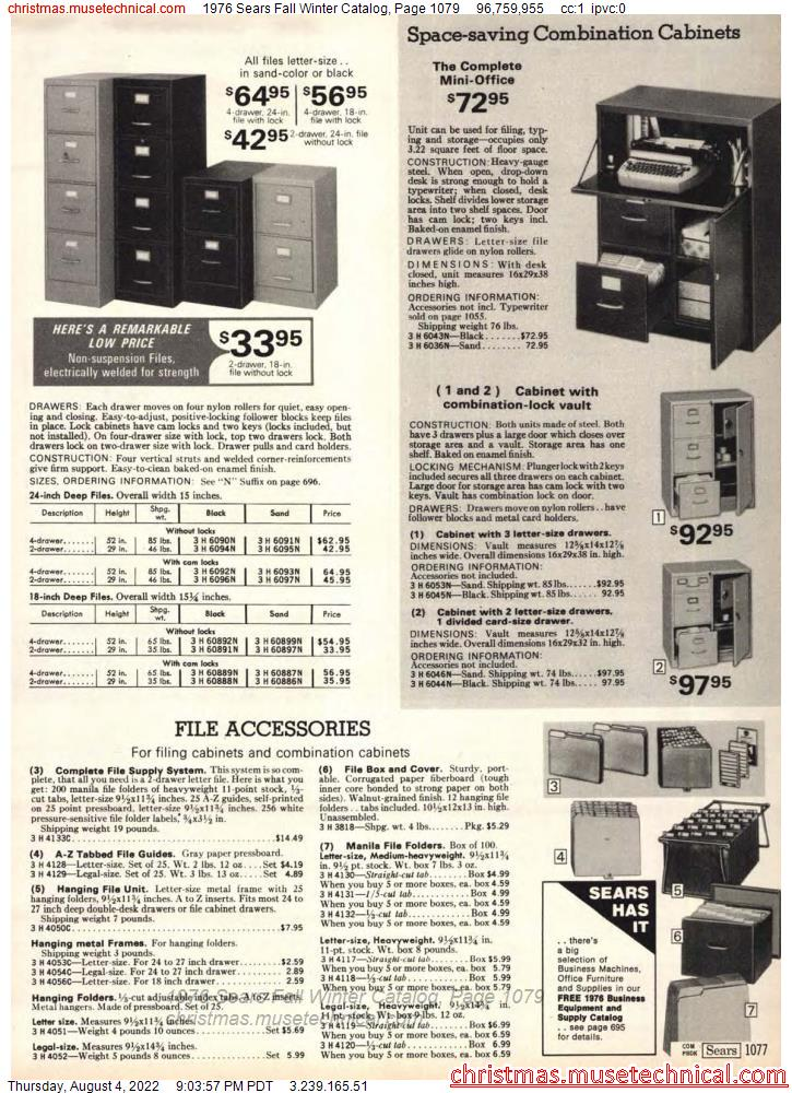1976 Sears Fall Winter Catalog, Page 1079