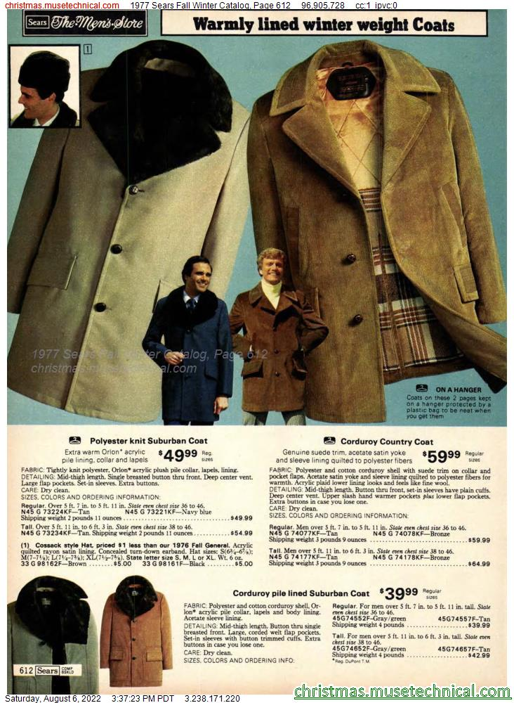 1977 Sears Fall Winter Catalog, Page 612