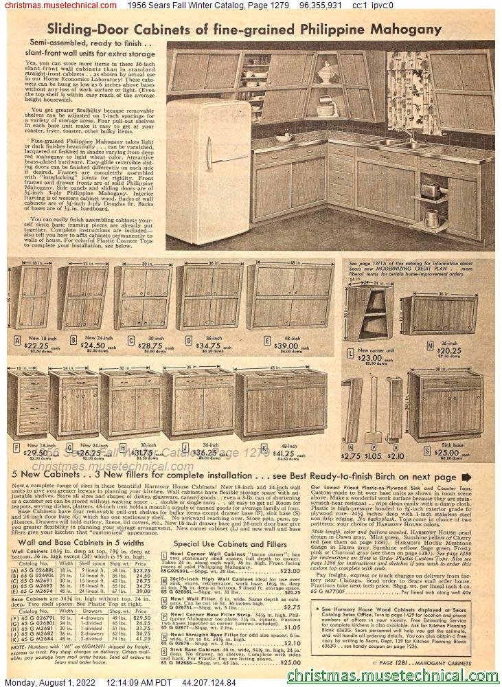 1956 Sears Fall Winter Catalog, Page 1279