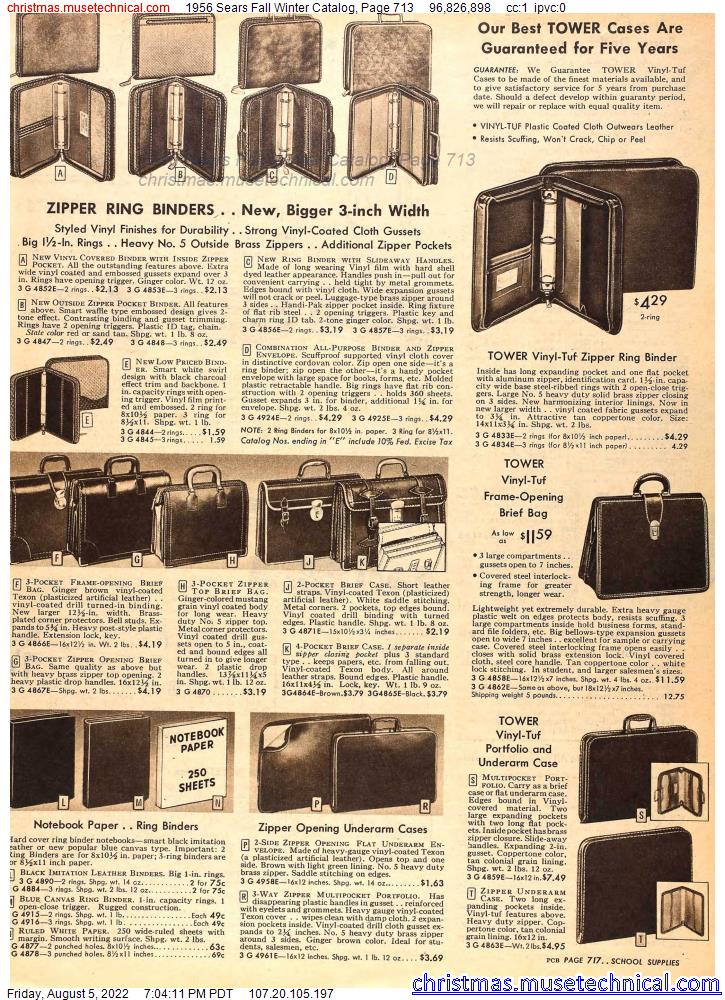 1956 Sears Fall Winter Catalog, Page 713