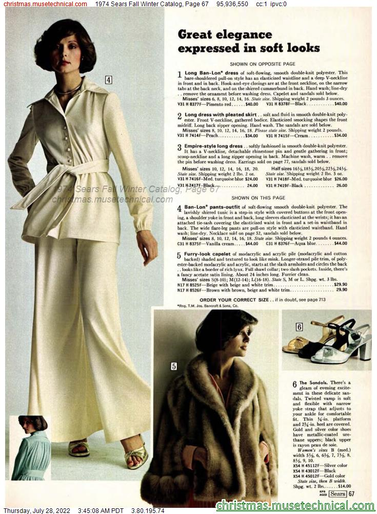 1974 Sears Fall Winter Catalog, Page 67