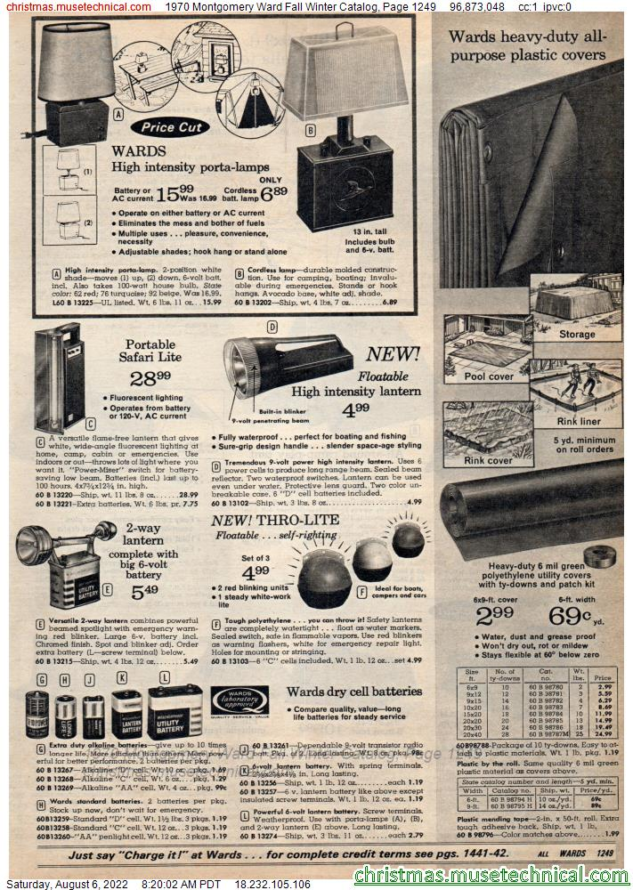 1970 Montgomery Ward Fall Winter Catalog, Page 1249