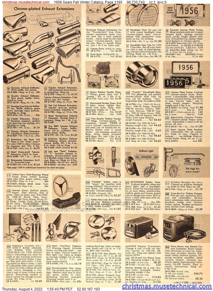 1956 Sears Fall Winter Catalog, Page 1185