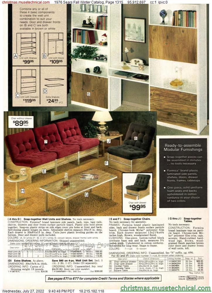 1976 Sears Fall Winter Catalog, Page 1315