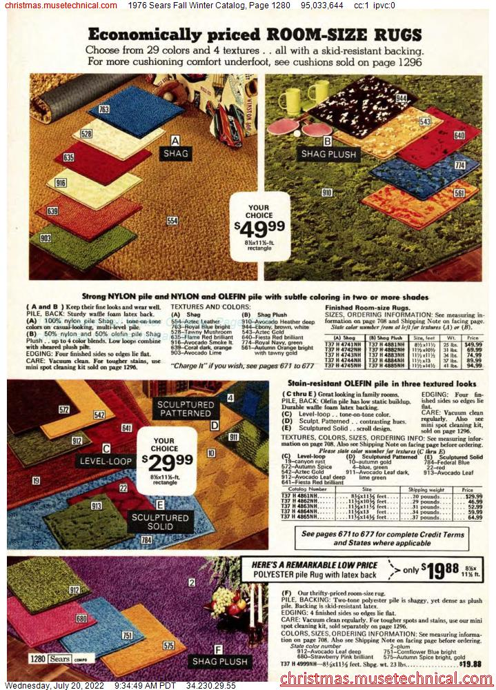 1976 Sears Fall Winter Catalog, Page 1280