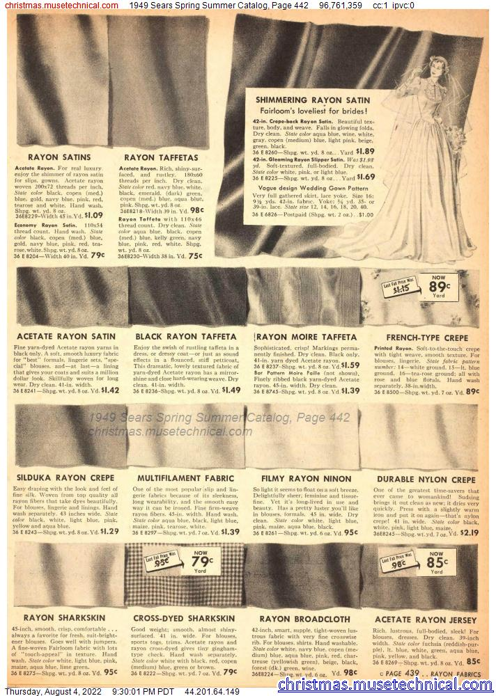 1949 Sears Spring Summer Catalog, Page 442