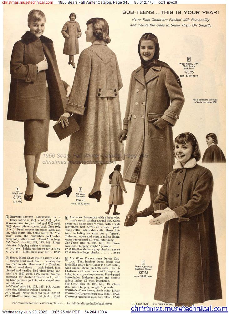 1956 Sears Fall Winter Catalog, Page 345