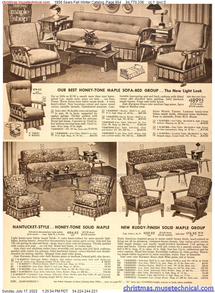1956 Sears Fall Winter Catalog, Page 954