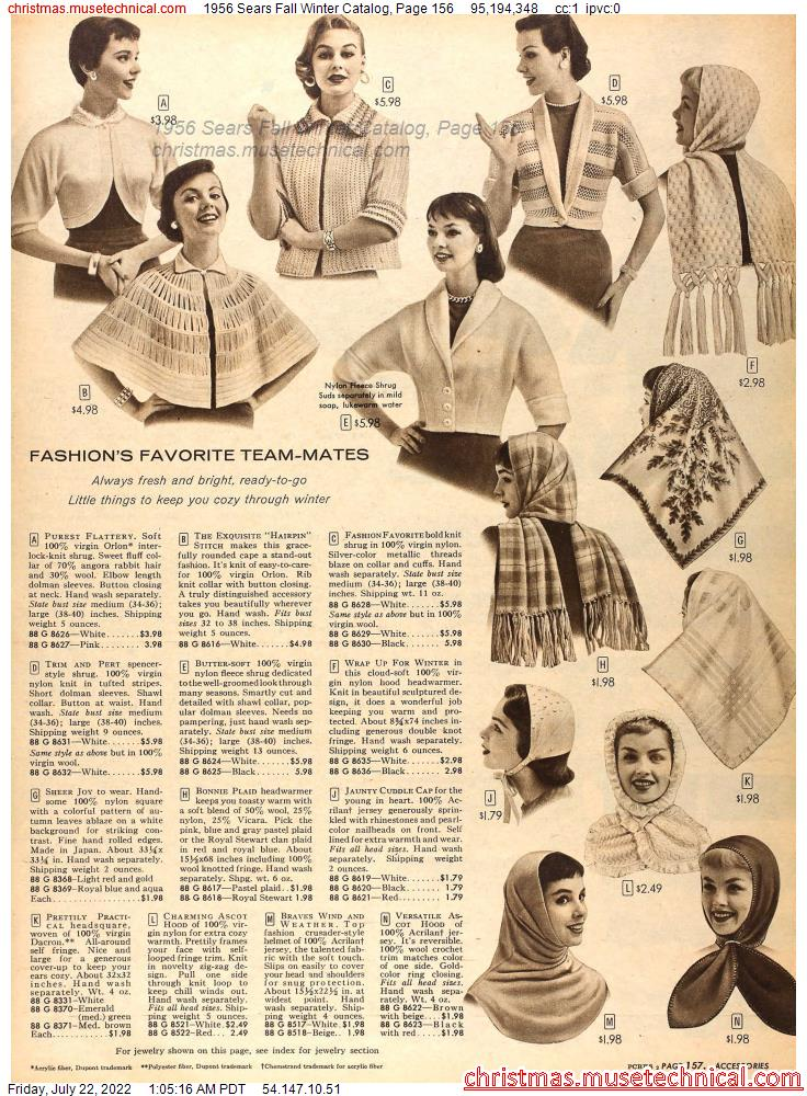 1956 Sears Fall Winter Catalog, Page 156