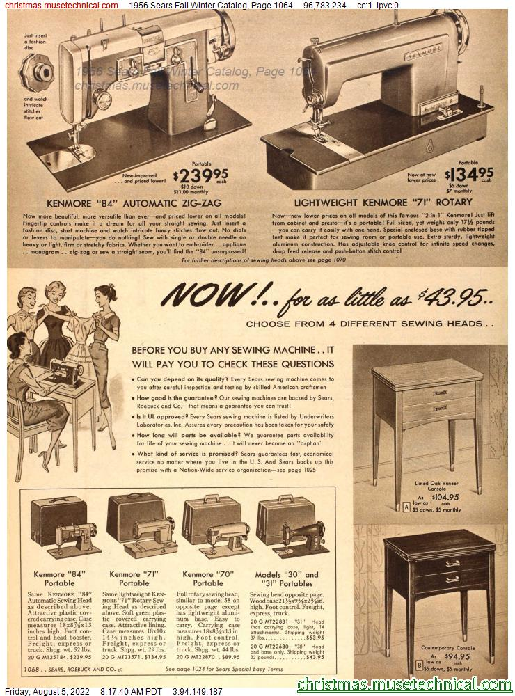 1956 Sears Fall Winter Catalog, Page 1064