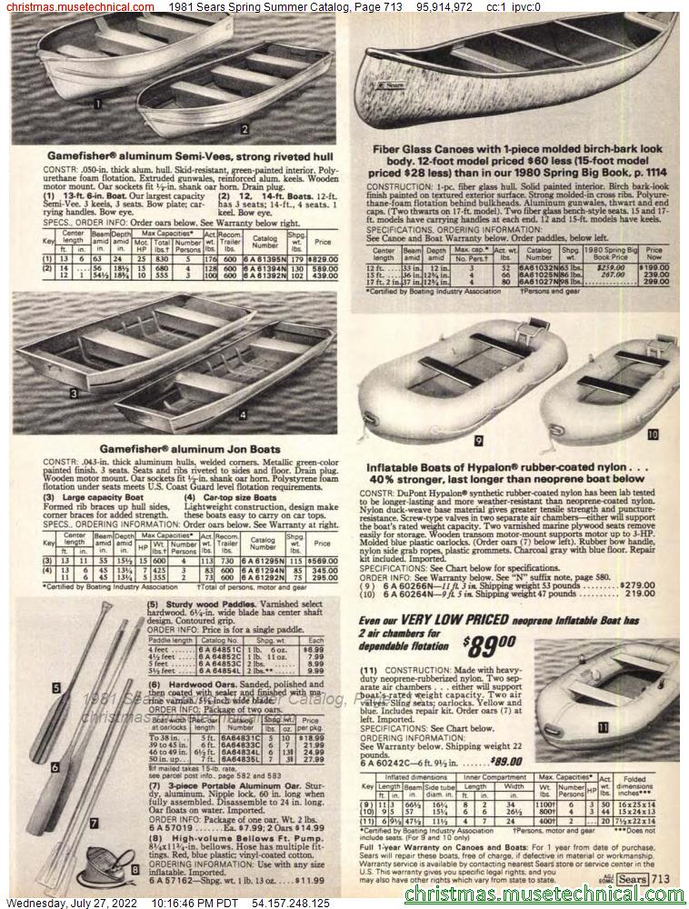 1981 Sears Spring Summer Catalog, Page 713