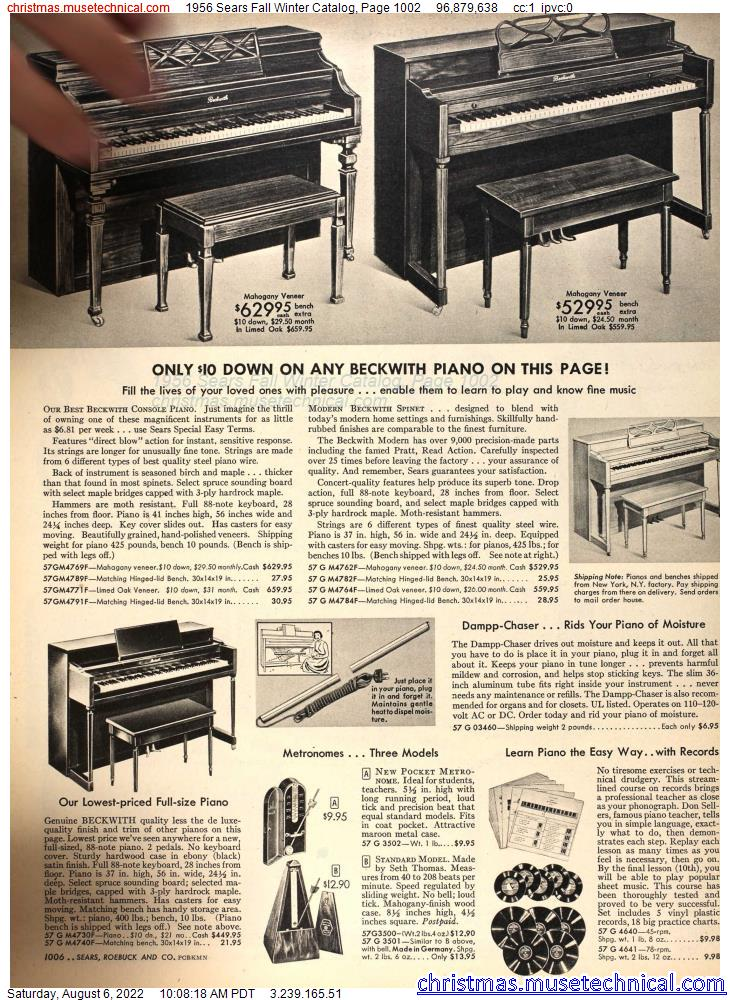 1956 Sears Fall Winter Catalog, Page 1002