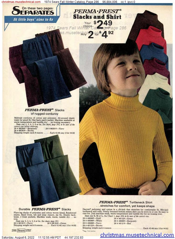 1974 Sears Fall Winter Catalog, Page 286